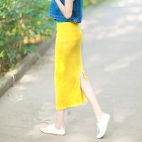 2013 summer candy color thread solid color elastic slim hip after placketing high waist half-length full dress female