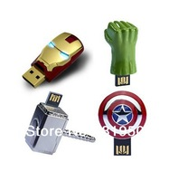 Free HK post++Original New Avengers Ironman/American shield/Hulk hand/Thor hammer Usb memory flash stick pendrive/disk 4pcs/lot