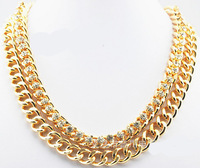 New arrival 2013 the latest fashion gold chain with crystal stone choker necklace