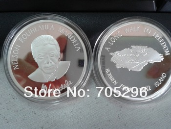 DHL free shipping wholesale 100pcs /lot  1oz 999 pure silver plated robben island coin  ,Nelson Mandela coin,coin collection