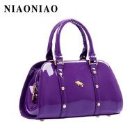 2013 women's handbag messenger bag japanned leather bucket handbag jelly bag one shoulder