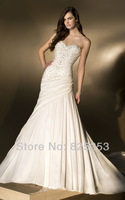 Free shipping 2013 New High Quality  Lady's Sexy  A-Line  Sweetheart Beading Sleeveless Empire Satin  Wedding Dresses Gown