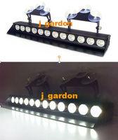 Car styling Traffic light Alarm warning  Police fire Warning light DC12V 12 LEDs 3W Emergency Windshield White Strobe Lightbar