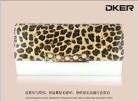2013 bag leopard print female wallet women's long design genuine leather folder wallet leather wallet purse
