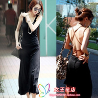 V5032 women's fashion cross racerback suspender skirt ultra long vest sexy one-piece dress