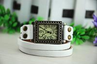 Women and men's fashion Antiqued Bronze Watch Brown Triple Rivet Genuine Leather Wrap Bracelet,free shipping