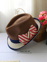 Ashima fashion coffee blue color block stripe bow decoration straw braid fedoras straw hat female