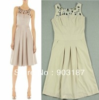 Free shipping Elegant Round Neck Gauze Sleeveless Beaded Evening Dress Sexy Dress DQ089