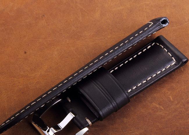 Темно-синий италия кожа телёнка натуральная кожа часовой браслет 24 мм часы ремешок с 22 мм предварительно - V пряжка для Panerai часы
