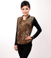 Women's plus size female t-shirt long-sleeve chiffon shirt slim mm faux two piece basic shirt leopard print