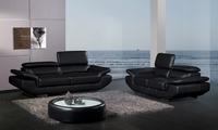 2013 Modern Desgin 1 2 3  Black Top Grain Cattle Leather sofa set  streched headrest  Good Leather  A228