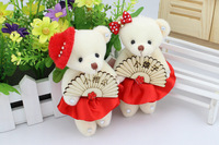 12cm plush bear toys Red Dress/Wood Fan Decoration For Christmas gifts do handicrafts accessories 6pairs/lot