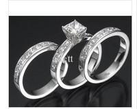 100% new 14K   ENGAGEMENT RING SET 3.05 CT WEDDING SOLITAIRE PRINCESS CU