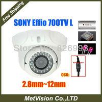 "Free shipping HD 700TVL effio-e 1/3""SONY CCD camera 2.8-12mm zoom lens with OSD menu cctv indoor dome camera free shipping"