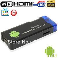 Full HD 1080P Mini Android 4.1.1 TV Box Multi-media Player with 4GB ROM  WIFI, HDMI  USB 2.0  Mini USB OTG Slot, Black
