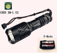 1 Set UF-2200 Flashlight 5 Mode 1300 Lumen CREE XM-L U2 LED Flashlight + 2*18650 3000mAh Battery+ Smart Charger
