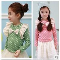 Autumn new dot girls bow + angel shoulder long-sleeved T-shirt unlined upper garment of render, free shipping--V072