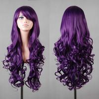 Free ship~charming Long Dark Purple Hair Curly Cosplay wig