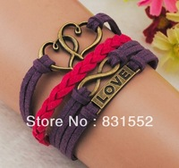 Free Shipping!12pcs/lot!Wholesale Charms Jewelry Antique Bronze Purple And Red Suede Chain Heart LOVE Infinity Bracelet K-175
