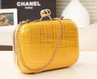 Newarrive High candy color with chain women clutch bag ladies party cute evening bags 2 modle size 15*10*5cm Freeshipping