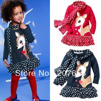 free shipping 5pcs/lot korean style children clothes kids wear girls spring autumn dress+scarf