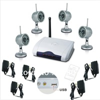 One to Four USB 2.4G Wireless Night Vision Surveillance Camera 4CH USB DVR CCTV Home Security safety surveillance System Kit
