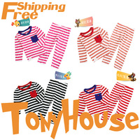 2013 Fall New Children Girl's/Boy's Stripe Pajamas 2PC Set Sleeping Wear Free Shipping