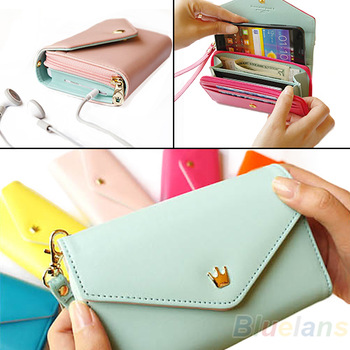 2013 New Womens Multifunctional Envelope Wallet Coin Purse Phone Case for iPhone 5/4S Galaxy S2/S3