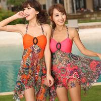 Free shipping 2013 hot spring swimsuit split skirt twinset female fashion sexy swimwear