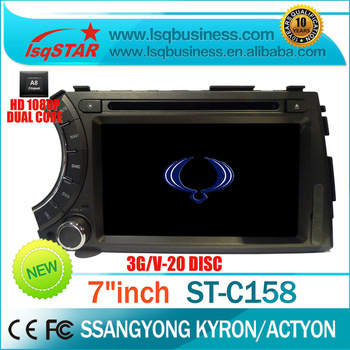 "Free Shipping+Free Map LSQ Star 7""for Ssangyong Kyron Car dvd player with S100 Platform 3G GPS Radio ST-C158"