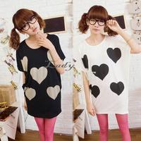 3pcs/lot Wholesale New Korea Womens Loose T-shirt Cute Heart Pattern T-shirt Batwing Sleeve Round Neck  Tops Black/White 17205