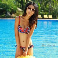 Free shipping Double shoulder strap bikini swimwear women's large steel large cup plus size peacock wool flower swimwear