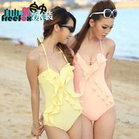 Free shipping Women's solid color ruffle spaghetti strap small push up beach swimwear female 1234