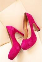 Powder 2013 single shoes ladies brief ol high-heeled single shoes nubuck leather cowhide female wedding shoes
