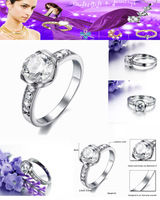 Free shipping.Luxurious.  Titanium Steel Rhinestone (8 +1). Decorative ornaments. Women ring.JZ-130722-5
