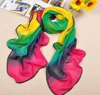 Hot sales! fashion scarf woman color gradient package edge  silk scarf , chiffon shawl  big square scarf 140*100cm  FX-133