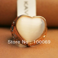 Hotsale Classic Design 18K Gold White Opal Heart Finger Rings Costume Jewellery Gold Color R2295