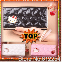 2013 hello kitty new luxury women's long design lady handbag female bag with the face pink bag white and black color BKT00508
