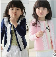 free shipping 2013 new autumn and winter children's clothing brand cotton small Korean girls lace cardigan jacket 5pcs