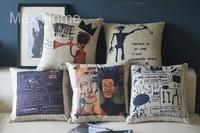 "Free Shipping 5 pcs/lot 18"" Basquiat Graffiti Theme Retro Vintage Linen Decorative Pillow Case Pillow Cover Cushion Cover Set"