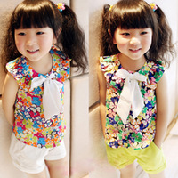 2013 summer female child shirt colorful flower chiffon sleeveless cardigan bow top female child vest t-shirt