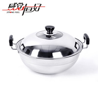 Stainless steel Large steamer 38cm energy-saving steamer wok electromagnetic furnace general