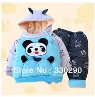 FREE SHIPPING! Cartoon Panda Hoodie Suits  For Boys! 2013 Autmun&Winter wear.Sports Suits.Jacket+Pants. Kid Overcoat  Jacket.