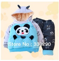 FREE SHIPPING! Cartoon Panda Hoodie Suits  For Boys! 2013 Autmun&Winter wear.Sports Suits.Jacket+Pants. Kid Overcoat  Jacket.
