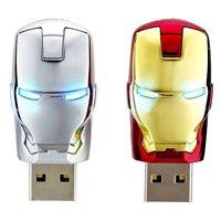 Wholesale Hot sale Fashion Avengers Iron Man LED Flash 4-32GB USB Flash 2.0 Memory Pen Drive Stick  UY2