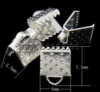 Free shipping!!!Iron Ribbon Crimp,Love Jewelry, Rectangle, silver color plated, nickel, lead & cadmium free, 7.50x6x5.50mm