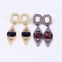 Free shipping Fashion New York Triangle Shape Milky Stone Drop Earring