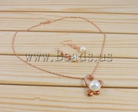 Free shipping!!!Natural Cultured Freshwater Pearl Jewelry Sets,2014 Fashion, earring & necklace, with Rhinestone, Round
