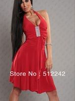 2013 New Fashion Elegant Evening Long Dress Rhinestone Sundress White Black Red large size LC6118 High Quality free shipping