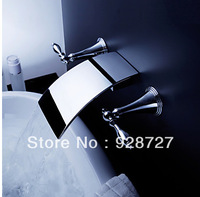 Free shipping Bathroom Brass Faucet Basin Mixer Vanity Sink Tap Chrome Wall Mounted